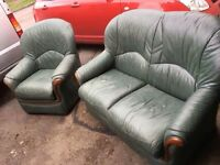 GREEN LEATHER SOFA AND MATCHING CHAIR ** FREE DELIVERY AVAILABLE **