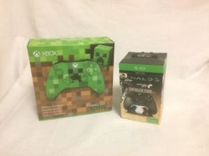 Xbox One Blue Tooth Green MineCraft Controller and Halo 5 Stand