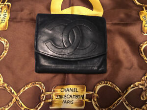 Vintage authentic chanel lambskin wallet; vuitton hermes gucci