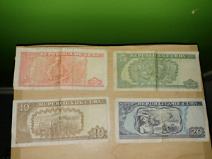 Cuban Bank Notes And 2 Coins And A Free Canadian Penny.