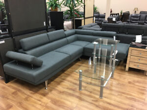 Fabric Sectional with adjustable headrests and  armrest