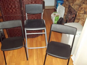 2 Folding Chairs and High Bar Stool Chair