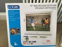 """Logik 19"""" White HD ready TV with built in DVD player and Freeview"""
