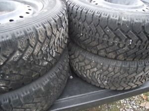 "* *  F O R  S A L E * *  4 SNOW tires on steel rims  15"""