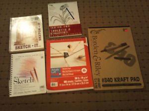 Five Artists Sketch Pads  - Over 350 Sheets - All for  $12 -