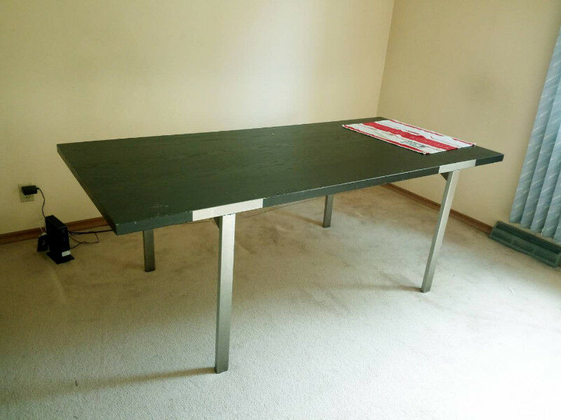 Large Ikea V 196 Stanby Long Table Black Top And Steel Legs