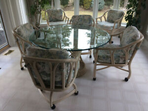 """54"""" Round bamboo glass kitchen/dining table with 6 chairs"""