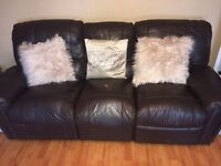 Brown 3 & 2 seater reclining couch for sale £100 ONO Need gone TODAY