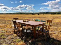 For Rent: Harvest tables, antique chairs, and rustic decor!