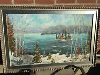 Stunning Canadian Landscape Painting with custom frame!