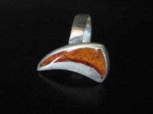 BRAND NEW ARTISAN STERLING SILVER COGNAC AMBER RING
