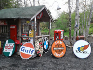 LARGE GAS AND MOTORCYCLE SIGNS