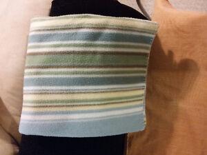 Blue striped fleece throw blanket London Ontario image 2