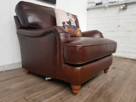 Next Howard style armchair in brown leather RRP £960