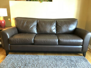 Leather sofa and matching recliner set