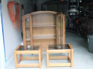 Glass Display Cabinet and glass end tables