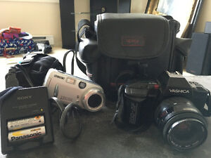 Cameras Sony and yashica with cases