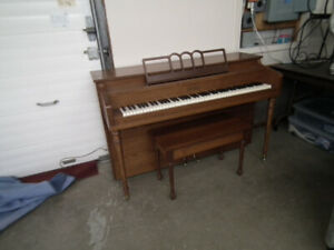 SCHUBERT WALNUT VINTAGE APARTMENT SIZE PIANO WITH BENCH