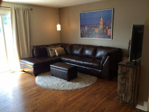 Beautiful brown leather sectional L couch