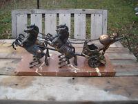 Excellent Condition: Achilles Chariot Horses Statue, Marble Base