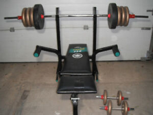 York incline bench with 160 lb weight set