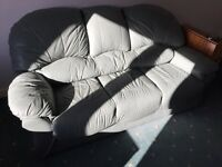 3 seat leather couch immaculate condition with foot stool/pouffe