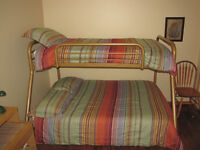 bunk beds and bedding