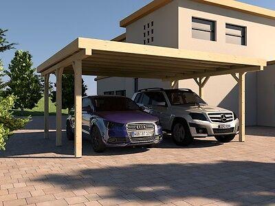 Carport Flachdach  AVUS  II 600x500 cm Konstruktionsvollholz KVH Bausatz Fichte