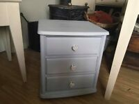 Pair of solid pine up cycled bedside drawers
