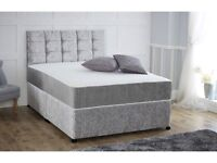 Brand new double complete silver divan bed with head board