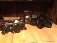 Pentax ME-F camera with accessories/lenses