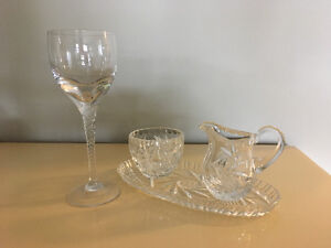 Crystal wine glasses and cream and sugar set