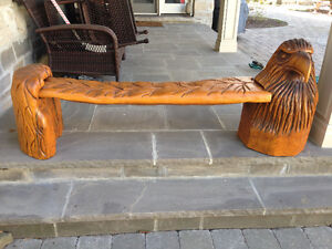 UNIQUE HAND CARVED OAK WOOD EAGLE BENCH - PARKER PICKERS -