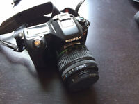 Pentax camera, lens, and case
