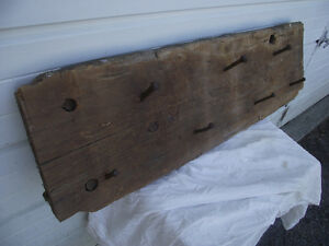 Antique Hand Hewn Barn Beam Forged Nail Hat Coat Rack