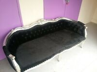 Rococo Shabby Chic French Style Silver Sofa & Matching Chair in Black Velvet.
