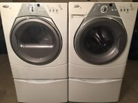 **BEAUTIFUL WASHER/DRYER SET ON PEDESTALS!! STACKABLE ALSO!!***