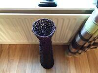 Tall slimline rattan mesh vase