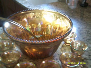 Antique 60's Carnival Punch Bowl with Ladle & 12 Glasses