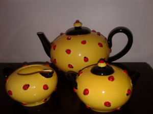 FINAL REDUCTION...LADY BUG CHINA TEA SET by DEPARTMENT 56