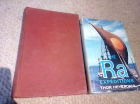 2 Thor Heyerdahl Books. Ra Expedition 1972. Kontiki Expedition 1950i