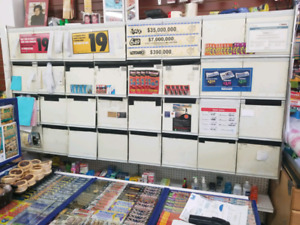 Convenience store Cigarette Shelving and Counter.