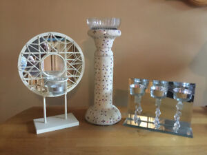 Two Mirrored Tea Light Candleholders and One Large Candleholder