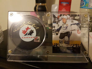 Steven Stamkos Autographed puck and rookie card
