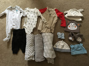 Lightly used and new baby clothes 0-3 months