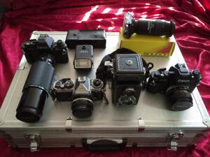 Film Cameras: Nikon, Canon, Minolta + Lenses, Filters, Access