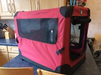 Red / black foldable dog crate