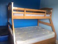 Oak Triple Sleeper Bunk Bed With Storage Drawers