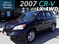 2007 Honda CR-V LX 4WD with low mileage.