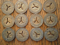 Vintage set of NEW YORK CITY SUBWAY TOKENS and dispenser